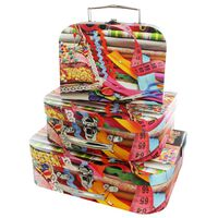 Sewing Design Storage Suitcases: Set of 3