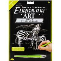A4 Engraving Art Set: Zebras