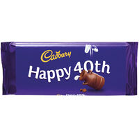 Cadbury Dairy Milk Chocolate Bar 110g - Happy 40th