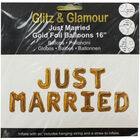 Gold Foil Just Married 16 Inch Balloons image number 1