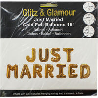 Gold Foil Just Married 16 Inch Balloons