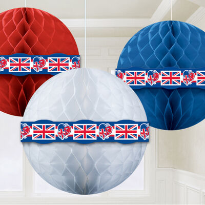 Red, White and Blue Hanging Honeycomb Balls - Set of 3 image number 2