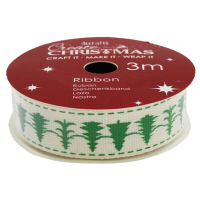 Christmas Trees Cotton Christmas Ribbon - 3m image number 2