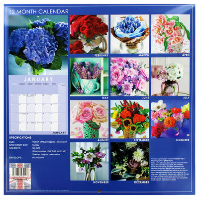 Beautiful Blooms 2022 Square Calendar and Diary Set image number 4