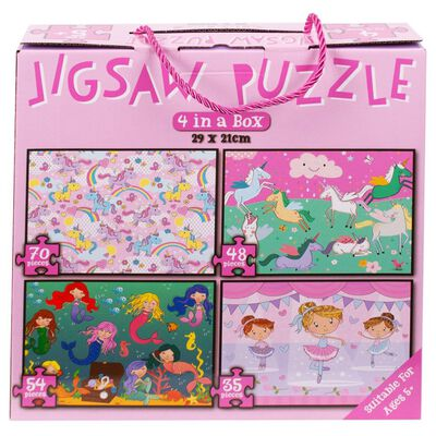 Pink 4 in 1 Jigsaw Puzzle Set image number 2