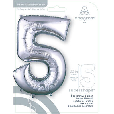 34 Inch Silver Number 5 Helium Balloon image number 2