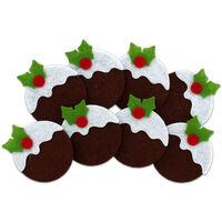 Christmas Pudding Felt Shapes: Pack of 8