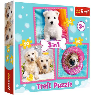 50 Piece 3 in 1 Dogs Jigsaw Puzzle image number 1