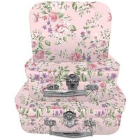 Pink Vintage Floral Storage Suitcases - Set Of 3