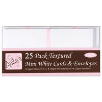 Anita's Textured Mini White Cards & Envelopes: Pack of 25
