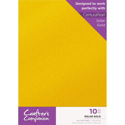 Crafters Companion Glitter Card 10 Sheet Pack - Solar Gold image number 1