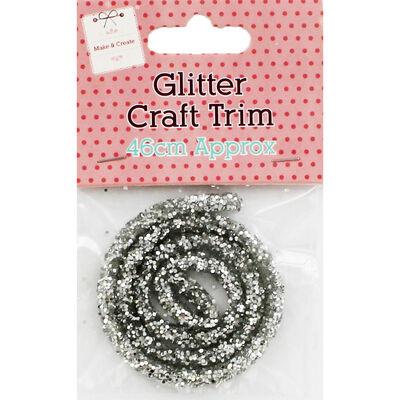 Silver Glitter Craft Trim 46cm image number 1