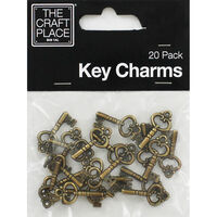 Small Bronze Key Charms - 20 Pack