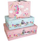Pink Unicorn Rectangular Storage Case - Set of 3 image number 1