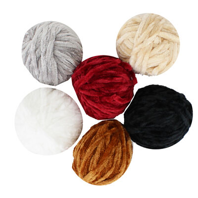Coloured Chenille Yarn - 6 Pack image number 1