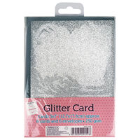 6 Glitter Silver Cards: 5 x 7 Inches