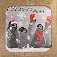 Red Penguin Christmas Cards: Pack Of 10
