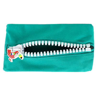 Green Canvas Oversized Zip Pencil Case image number 3