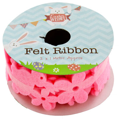 2 x 1m Felt Bunny Ribbon - Assorted image number 1