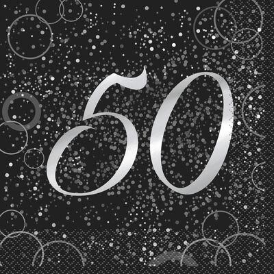 Black Silver 50th Paper Napkins - 16 Pack image number 1