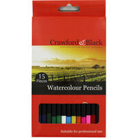 Crawford and Black Artist Watercolour Pencils - Set Of 15