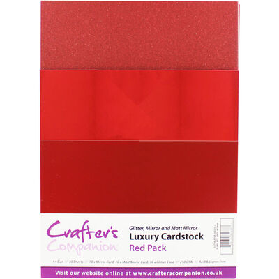 Crafter's Companion A4 Luxury Red Cardstock: 30 Sheets image number 1