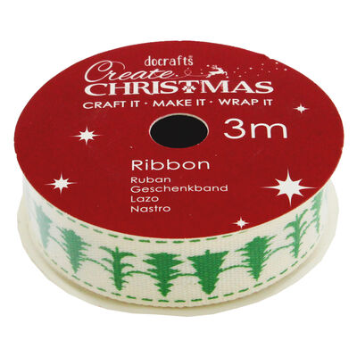 Christmas Trees Cotton Christmas Ribbon - 3m image number 1
