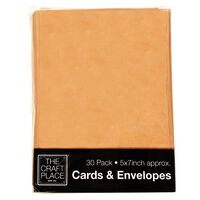 30 Kraft Cards and Envelopes - 5 x 7 Inches