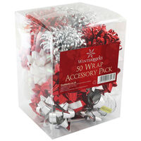Red and Silver Christmas Wrap Accessory Pack