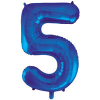 34 Inch Blue Number 5 Helium Balloon
