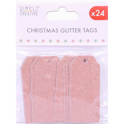 Rose Gold Christmas Glitter Gift Tags - 24 Pack image number 1