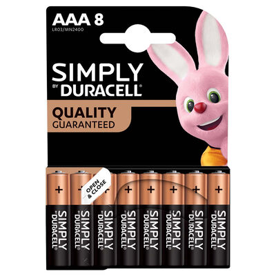 Duracell Simply AAA Batteries - Pack of 8 image number 1