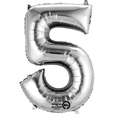 34 Inch Silver Number 5 Helium Balloon image number 1