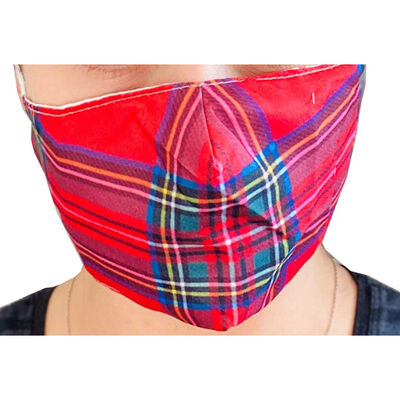 Red Tartan Reusable Face Covering image number 3