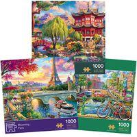 Secret Temple, Blooming Paris & Amsterdam Canal 1000 Piece Jigsaw Puzzle Bundle