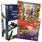 Marina View & Greengrocers 500 Piece Jigsaw Puzzle with Puzzle Rolling Mat Bundle image number 1