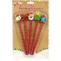 Christmas Pencils with Erasers: Pack of 5
