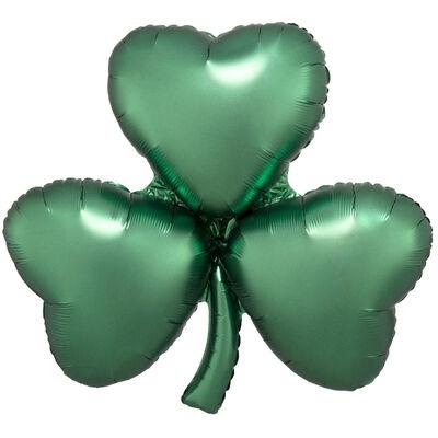 29 Inch Satin Emerald Shamrock Super Shape Helium Balloon image number 1