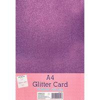 A4 Hot Pink Glitter Card: Pack of 10