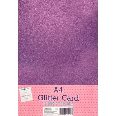 A4 Hot Pink Glitter Card: Pack of 10 image number 1