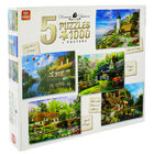 Cottage Themed 5-in-1 1000 Piece Jigsaw Puzzle Set image number 1