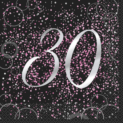 Black Pink 30th Paper Napkins - 16 Pack image number 1