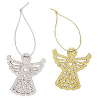 Glittered Gold Angel Wooden Tags: Pack of 4