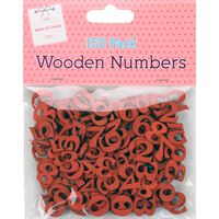Red Wooden Numbers: Pack of 150