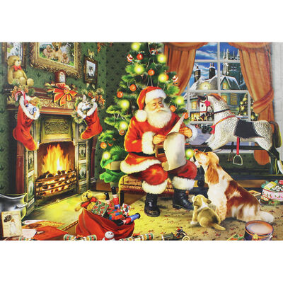 Santa Claus By The Fireplace 500 Piece Jigsaw Puzzle image number 3