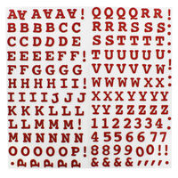 Red Glitter Letters Thick Christmas Stickers