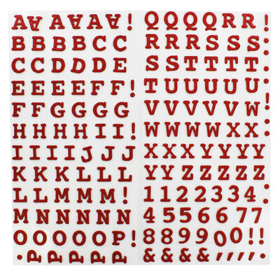 Red Glitter Letters Thick Christmas Stickers image number 2