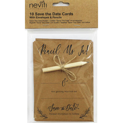 10 Kraft Wedding Save the Date Cards with Envelopes image number 1