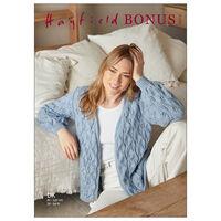 Hayfield Bonus DK: Leaf Lace Stitch Cardigan Knitting Pattern 10272