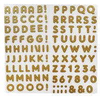 Gold Glitter Letters Thick Christmas Stickers